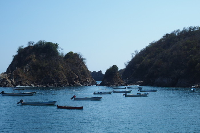 Puerto Angel - Boats in the bay, Puerto Angel