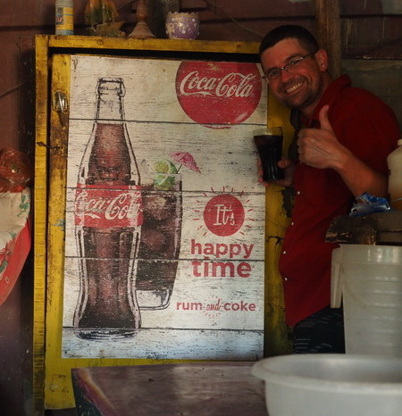 "Belize - ""Its happy time!"" with rum and cokes in Sarteneja, Belize"