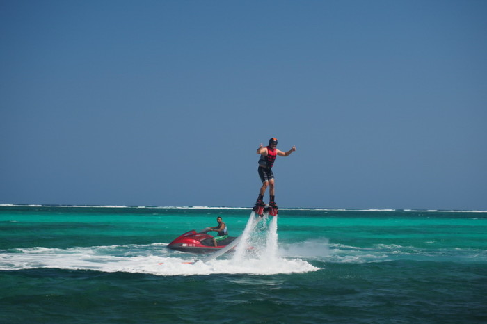 Belize - David having fun on the fly board!
