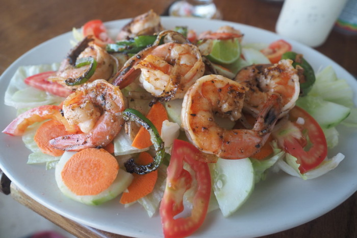 Belize - Yummy prawn salad, Estel's Dine by the Sea, San Pedro, Belize