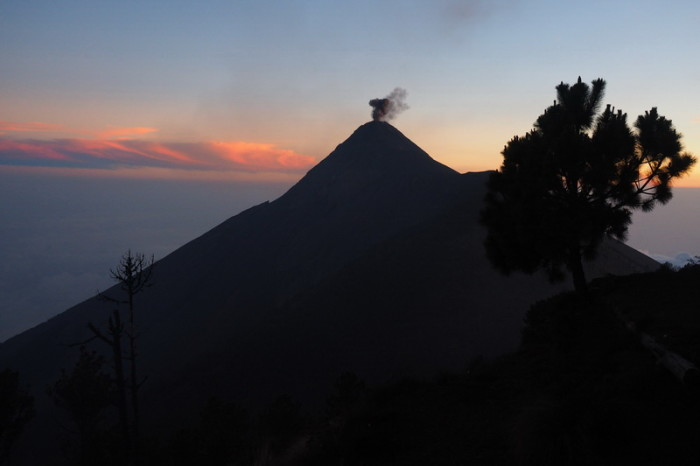 Guatemala - Views of Volcano de Fuego erupting at sunset!
