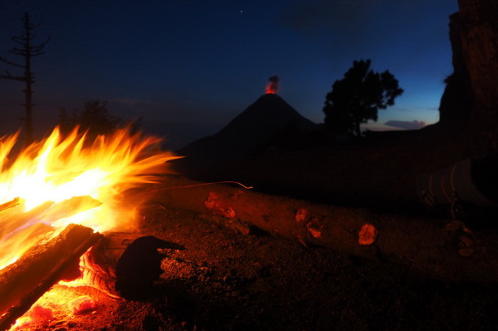 Guatemala - Views of Volcano de Fuego erupting at night!