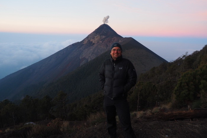 Guatemala - David and Volcano de Fuego at sunrise