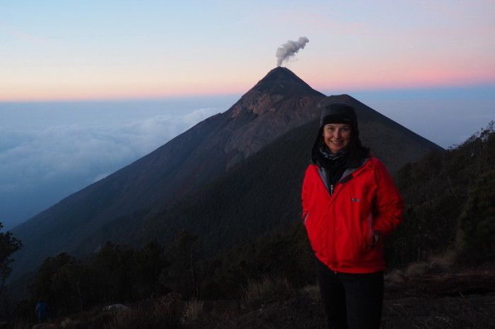 Guatemala - Jo and Volcano de Fuego at sunrise