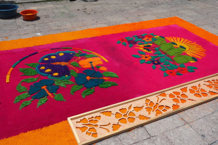 Guatemala - A particularly beautiful sawdust carpet, Flores, Guatemala