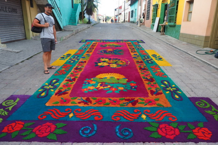 Guatemala - My favourite sawdust carpet in Flores, Guatemala
