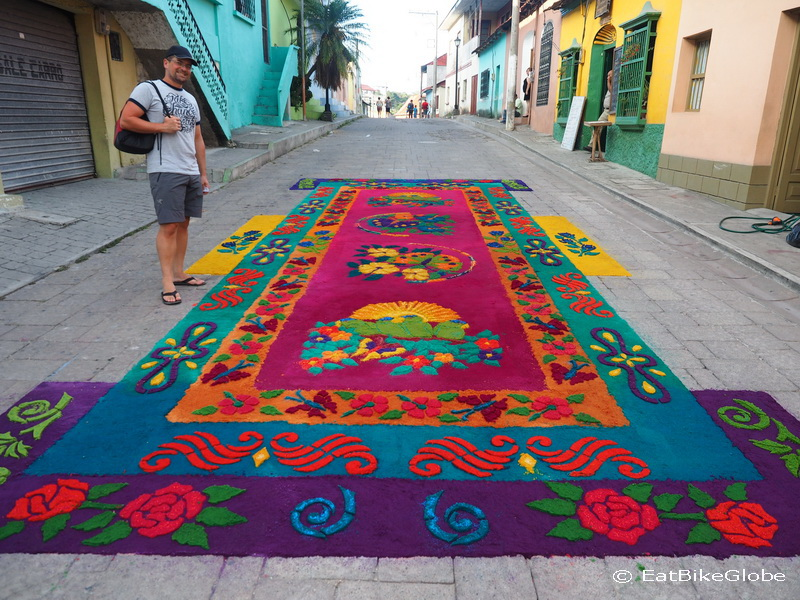 My favourite sawdust carpet in Flores, Guatemala