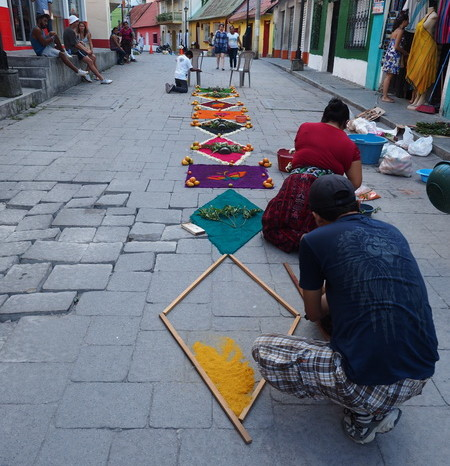 Guatemala - Residents of Flores (Guatemala) getting ready for the Semana Santa (Easter) procession through the streets