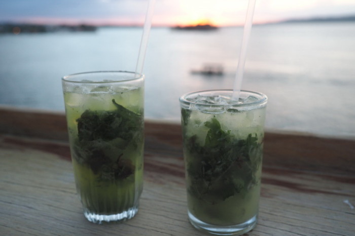 Guatemala - Enjoying a couple of mojitos at the Sky Bar, Flores, Guatemala