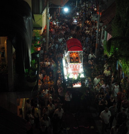 Guatemala - Aerial view of the Semana Santa (Easter) procession in Flores, Guatemala