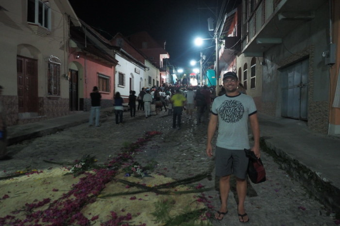 Guatemala - The aftermath of the Semana Santa (Easter) procession in Flores, Guatemala