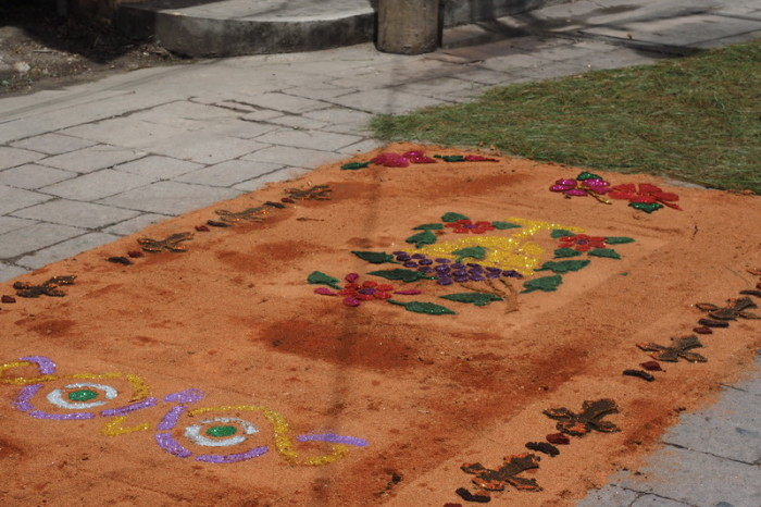 Guatemala - Beautiful sawdust carpets for Semana Santa (Easter), Flores, Guatemala