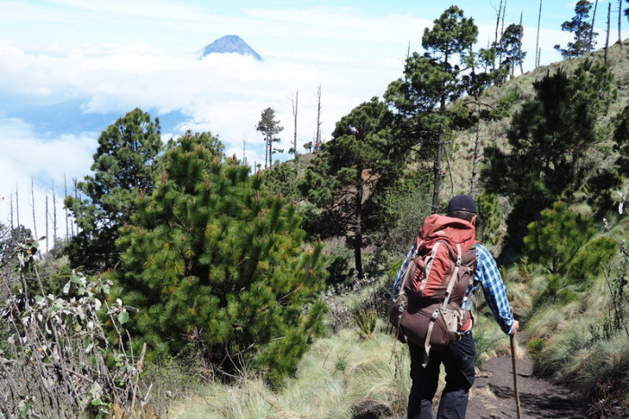 Guatemala - Enjoying stunning views of  Volcano de Agua on our way to base camp.