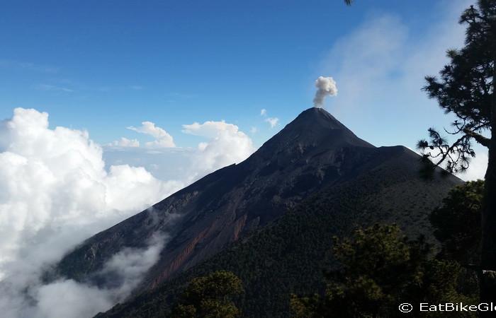 Guatemala - Spectacular Volcano de Fuego, viewed from  Volcano Acatenango, Guatemala