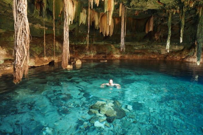 Mexican Road Trip - David swimming in Cenote Kankirixche near Abala, Yucatan, Mexico