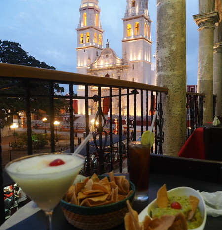 Mexican Road Trip - Enjoying cocktails and nachos with a view! Campeche, Mexico