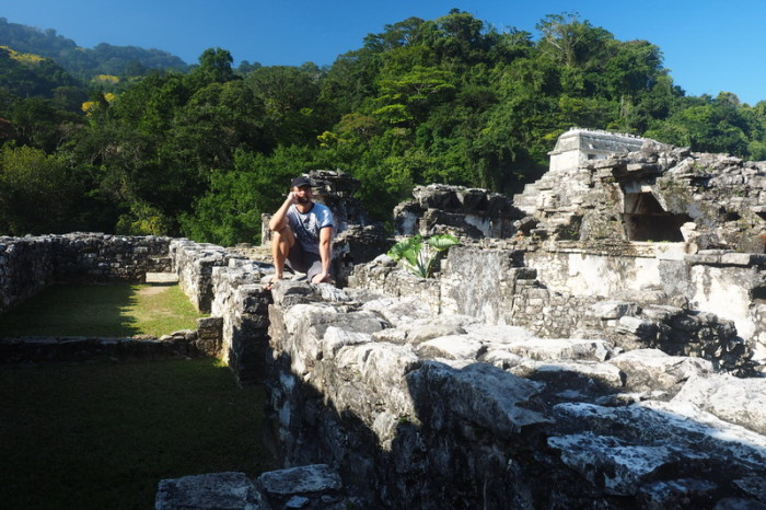 Mexican Road Trip - David taking a break at the Palace, Palenque, Chiapas, Mexico