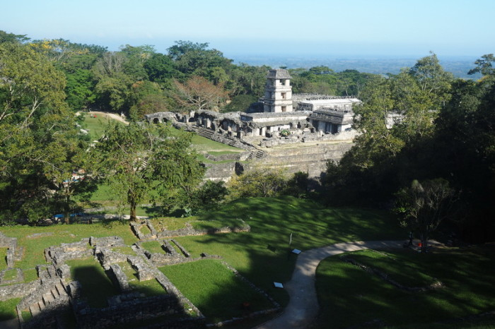 Mexican Road Trip - The Palace and Tower viewed from the Temple of the Cross, Palenque, Chiapas, Mexico