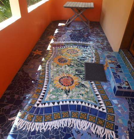 Mexican Road Trip - Beautiful mosaics outside our villa! Mayan Beach Garden, near Mahahual, Quintana Roo, Mexico