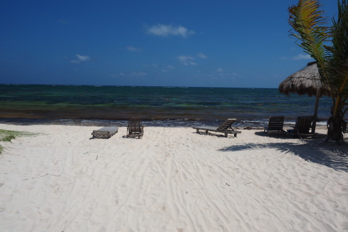 Mexican Road Trip - The beach at Mayan Beach Garden, near Mahahual, Quintana Roo, Mexico