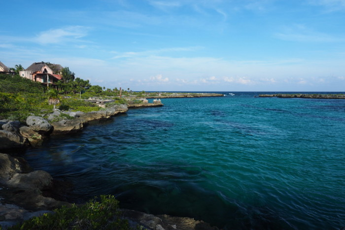 Mexican Road Trip - Tranquil little bay, which forms part of the ruined hotel complex. Quintana Roo, Mexico.