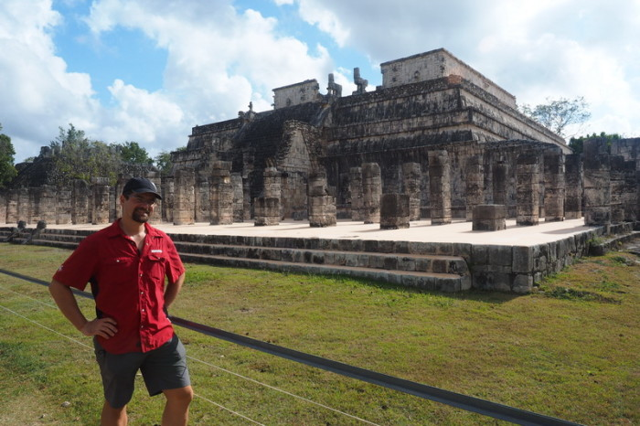 Mexican Road Trip - David and Templo de los Guerreros (Temple of the Warriors), Chichen Itza, Yucatan, Mexico