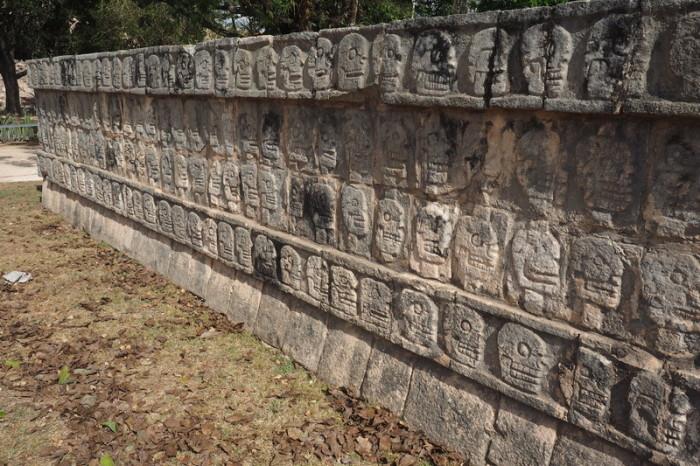 Mexican Road Trip - The Tzompantli, or Skull Platform (Plataforma de los Cráneos), Chichen Itza, Yucatan, Mexico