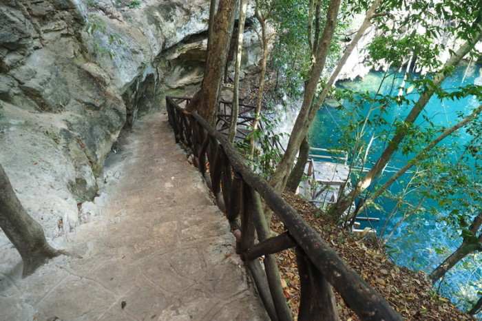 Mexican Road Trip - Steps leading down to the  Yokdzonot Cenote, Yokdzonot, Yucatan, Mexico