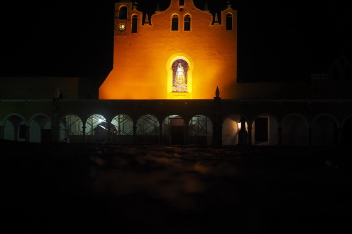 Mexican Road Trip - The Monastery lit up at night