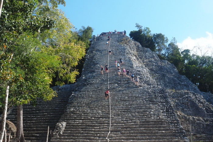 Mexican Road Trip - Jo descending Nohuch Mul pyramid at Coba, Quintana Roo, Mexico