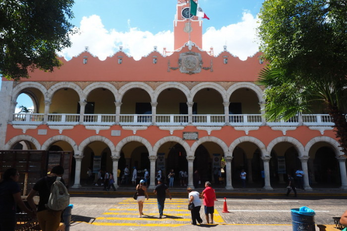 Mexican Road Trip - The Ayuntamiento, the old City Hall, with its distinctive clock tower, Merida, Yucatan, Mexico
