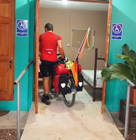 Costa Rica - Our cabana at Orotina had a handy wheel chair access - perfect for our bikes! Orotina, Costa Rica