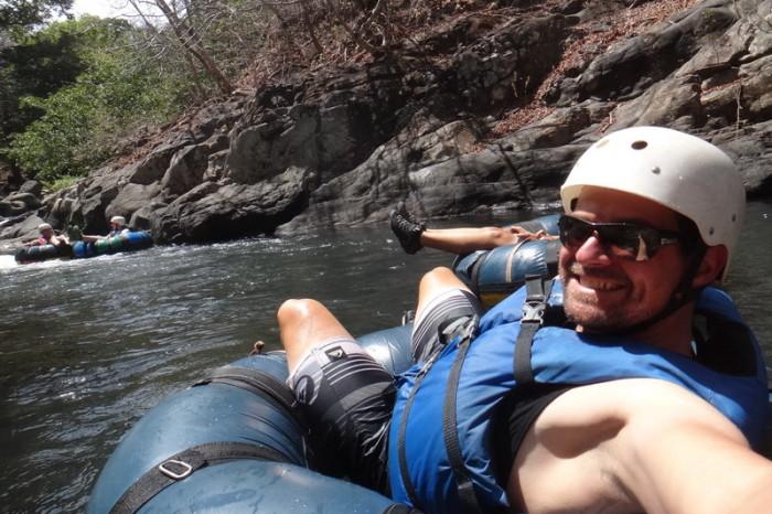 Costa Rica - David tubing down the Rio Negro, Rincón de la Vieja, Guanacaste, Costa Rica
