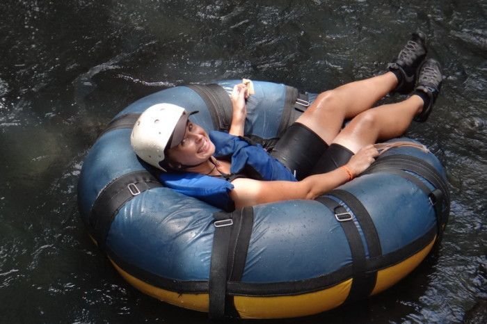 Jo tubing down the Rio Negro, Rincón de la Vieja, Guanacaste, Costa Rica