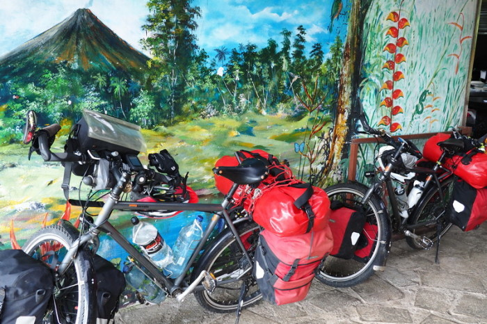 Costa Rica - Our bikes with the mural at Toad Hall, Laguna de Arenal, Costa Rica