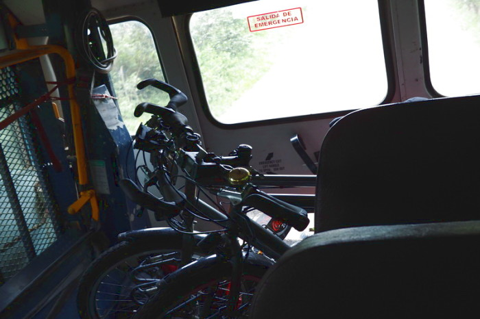 Costa Rica - Our bikes loaded into the back of the bus to Monteverde, Costa Rica