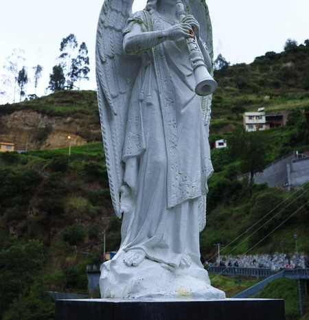 Colombia - Statue outside of the Las Lajas Sanctuary