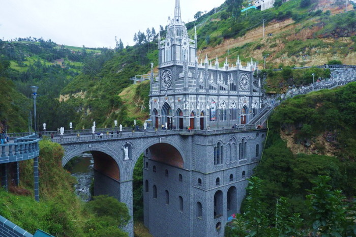 Colombia - The Las Lajas Sanctuary, a basilica church built within the canyon of the Guáitara River