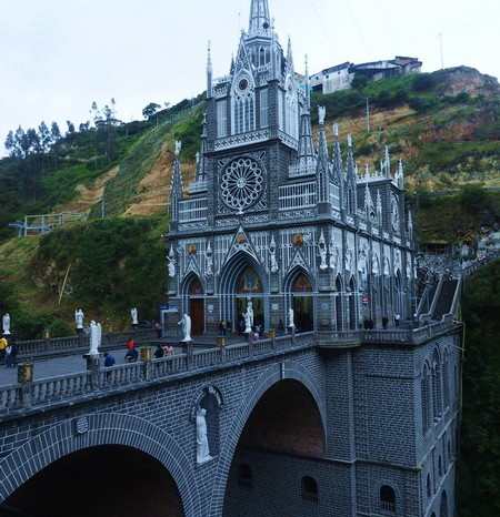 Colombia - The stunning Las Lajas Sanctuary, a basilica church built within the canyon of the Guáitara River