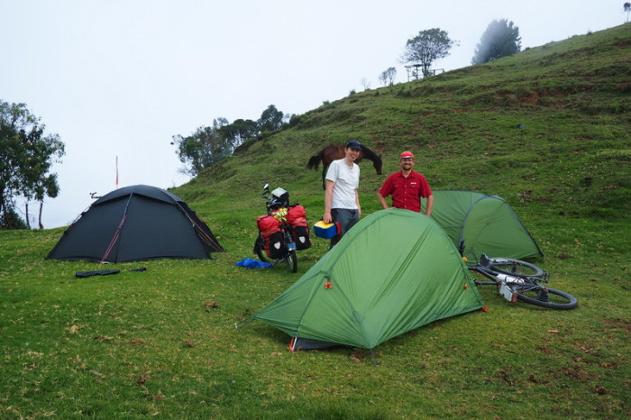 Colombia - David and Tobi at our campsite,  Alto de Minas pass