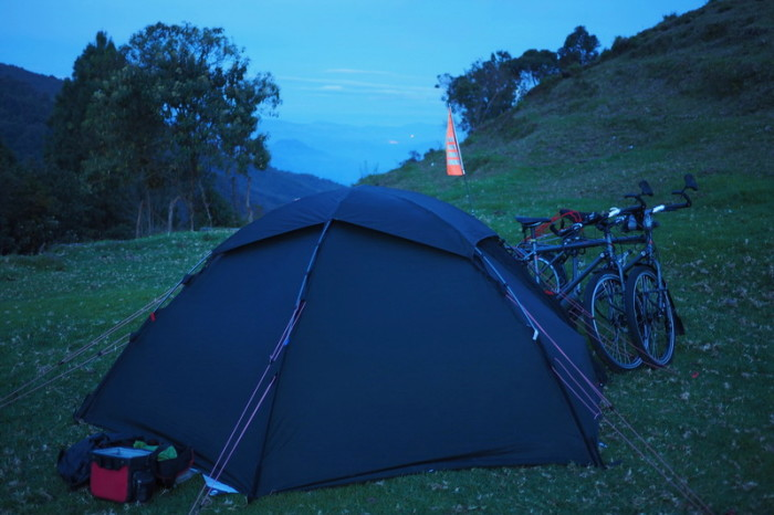 Colombia - Our campsite at dusk, Alto de Minas pass