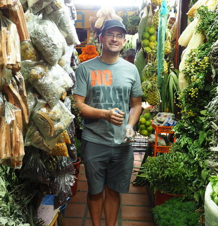 Colombia - David in the herb alley, Minorista Market, Medellin