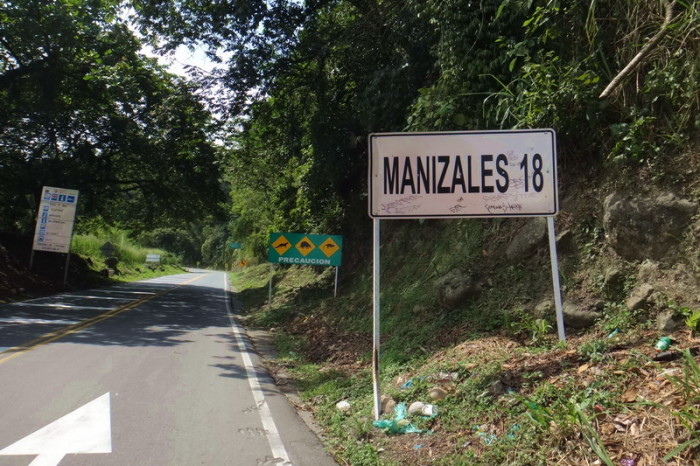 Colombia - On our way to Manizales - it was pretty much uphill for 18kms from here!