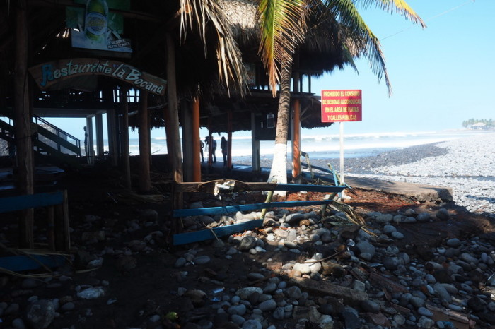 El Salvador - The damage after the huge tidal waves, El Tunco, El Salvador