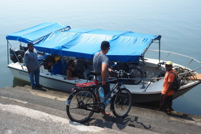 El Salvador - David loading our bikes onto the boat to Nicaragua, La Union, El Salvador