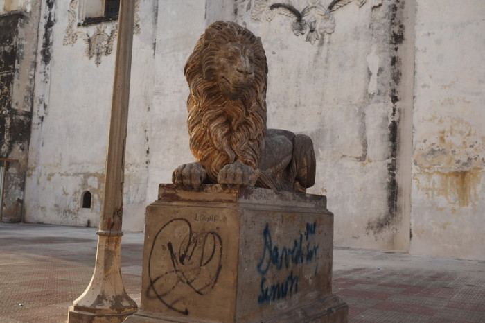 Nicaragua - Lion statue, outside the Cathedral of Leon, Leon, Nicaragua