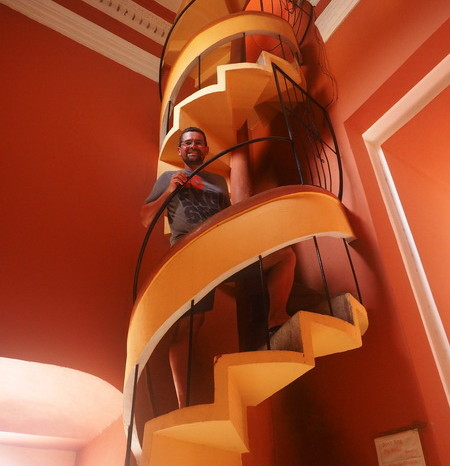 Nicaragua - David climbing the tower staircase, Iglesia de la Merced, Granada, Nicaragua