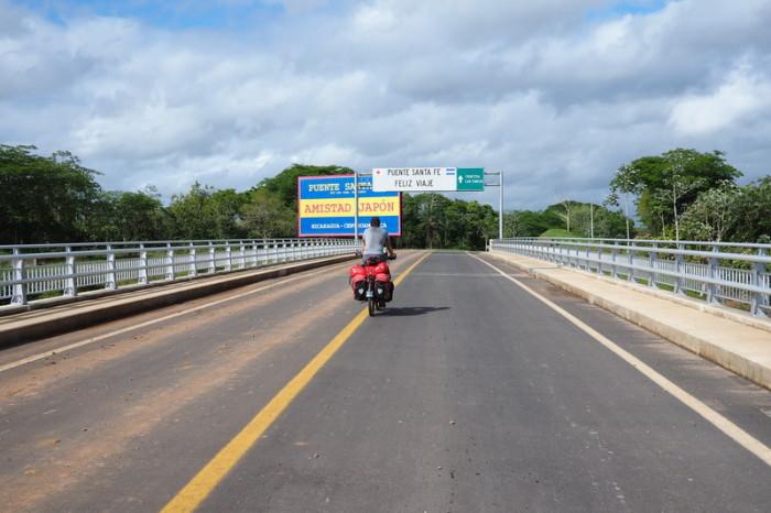 Nicaragua - David cycling across the Santa Fe Bridge, Nicaragua