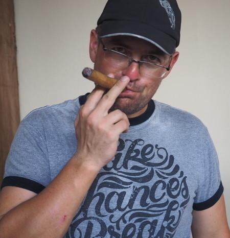 Nicaragua - David trying a cigar, Dona Elba Cigar tour, Granada, Nicaragua