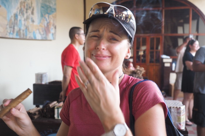 Nicaragua - Jo and cigars don't mix!